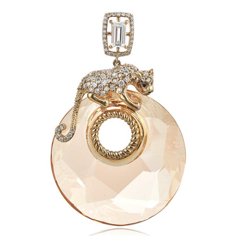 сребърен медальон с позлата GANEZZI с пантера и кристал сваровски
