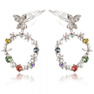 сребърни обеци цветя с цветни кристали и микро перли