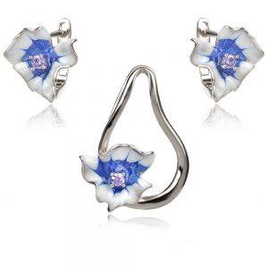 сребърен комплект със сини цветя
