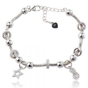 сребърна гривна с талисмани, стил Pandora