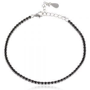 сребърна гривна с черни циркони