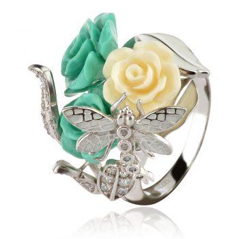 сребърен пръстен със зелени коралови рози и водно конче