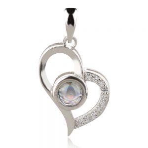сребърен медальон сърце обичам те на 100 езика