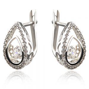 сребърни обеци с трептящ танцуващ камък