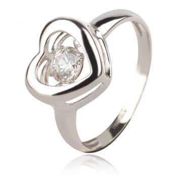 сребърен пръстен сърце с танцуващ камък
