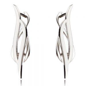 сребърни обеци, без камъни, геометрична форма