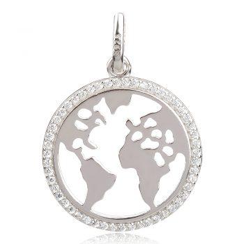 сребърен медальон карта на света