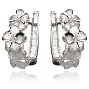 нецни сребърни обеци с цветя