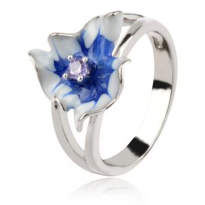 сребърен пръстен със синьо цвете