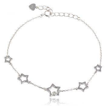 сребърна гривна със звезди