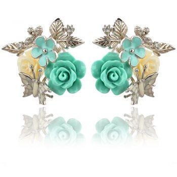 сребърни обеци с рози пресован корал в зелено