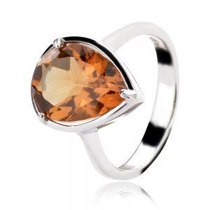 сребърен пръстен със султанит капка