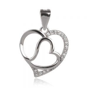 сребърен медальон две вплетени сърца