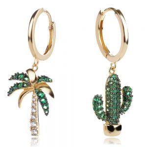 асиметрични сребърни обеци във формата на палма и кактус