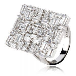 коктейлен сребърен пръстен с циркони багети