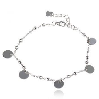 сребърна гривна с полирани монети и малки топчета