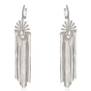 дълги сребърни обеци с циркони и фини трептящи синджирчета