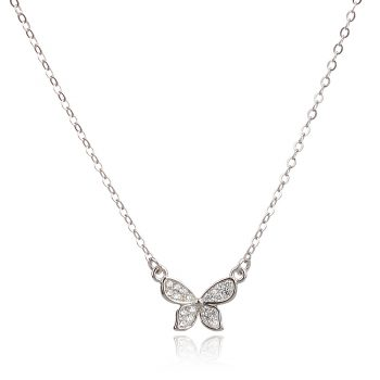 сребърно колие миниатюрна пеперуда с циркони