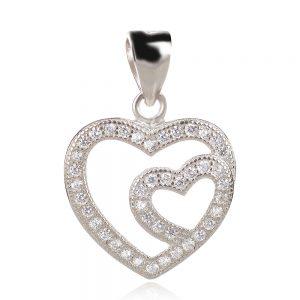 сребърен медальон сърце с циркони