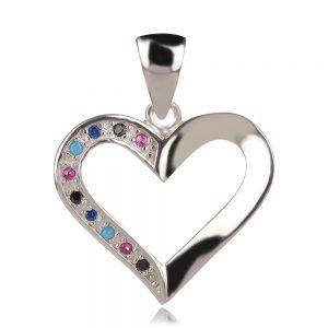 сребърен медальон сърце с цветни циркони