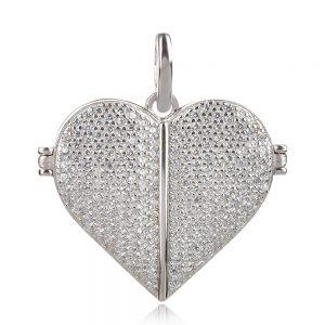сребърен отварящ се медальон сърце