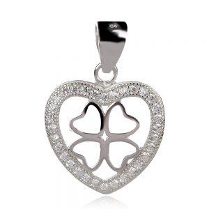 сребърен медальон сърце с четирилистна детелина