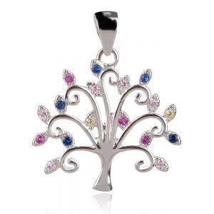 сребърен медальон дърво на живота с цветни циркони
