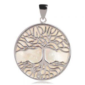 сребърен медальон дърво на живота със седеф