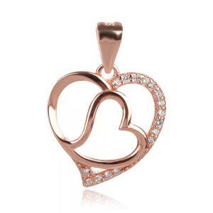 сребърен медальон с розова позлата сърце