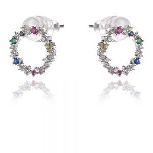 сребърни обеци с цветни циркони