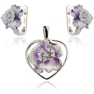 сребърен комплект с цветя