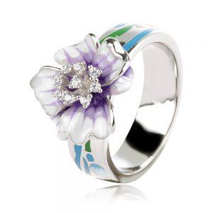 сребърен пръстен с цвете