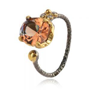 сребърен пръстен със султанит, рутений и позлата