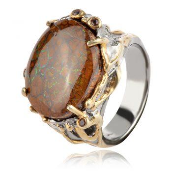 сребърен пръстен с боулдър опал