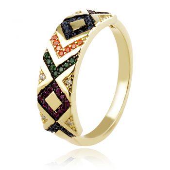 сребърен пръстен с цветни цирконии и позлата
