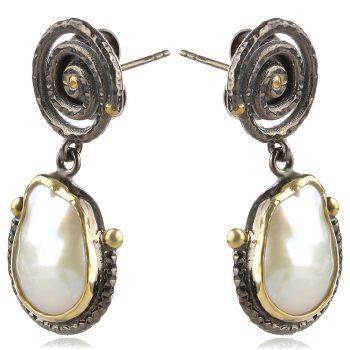 висящи сребърни обеци, покритие от рутении, перла барок