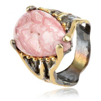 сребърен пръстен с родохрозид