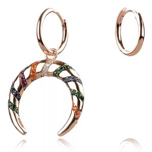 assymetric colorful silver earrings