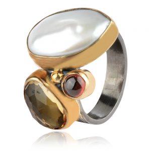 сребърен пръстен,перла барок,зелен аметист