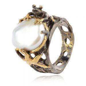 сребърен пръстен,жабка ,перла барок