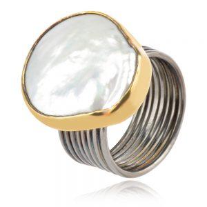 сребърен пръстен,перла барок,широка халка