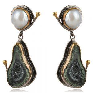сребърни обеци с перла и ахат