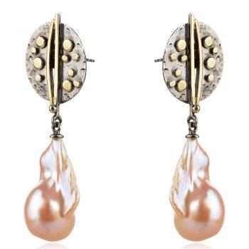 висящи сребърни обеци, розова перла барок, рутении, позлата