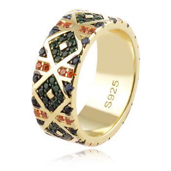 сребърен пръстен халка с цветни цирконии и позлата