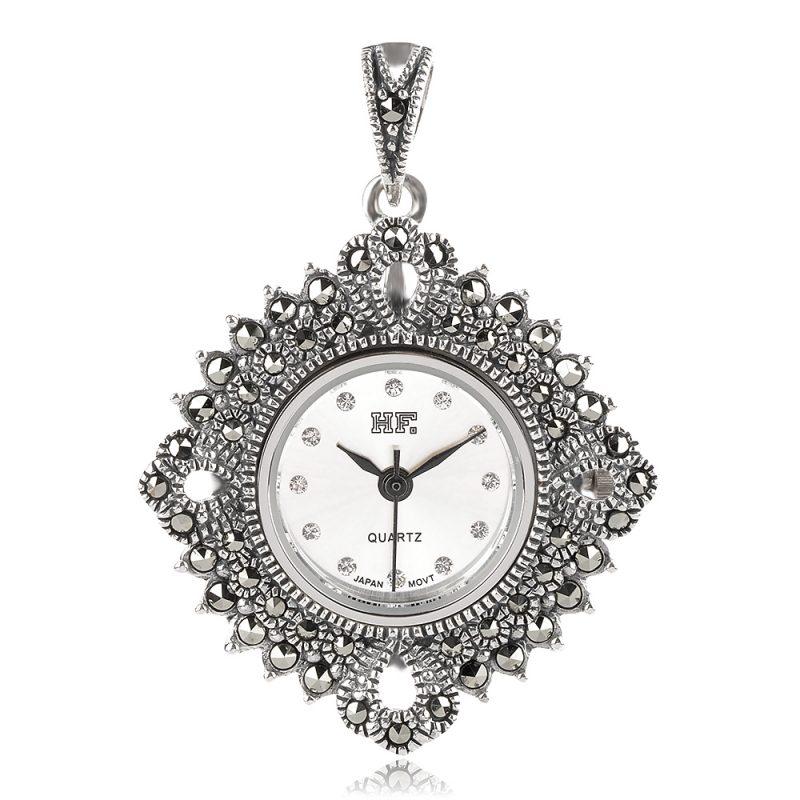 сребърен медальон,часовник с марказит