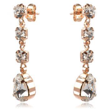 висящи елегантни обеци, кристал сваровски, розова позлата