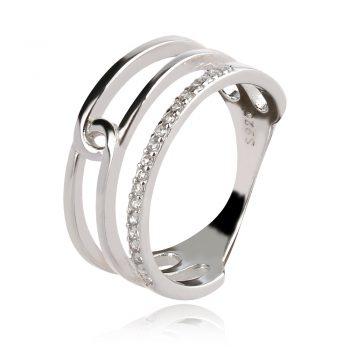 сребърен пръстен тип халка с циркони