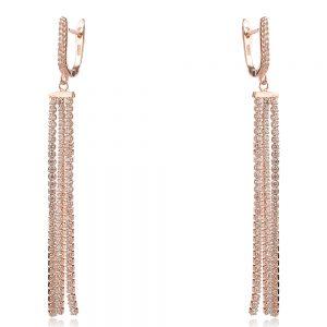 елегантни сребърни обеци, розова позлата, цирконии, балове