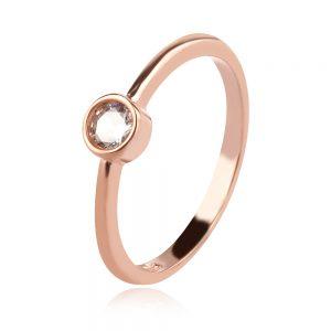 сребърен пръстен, розова позлата, цирконии