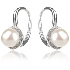 сребърни обеци, перла, цирконии, родиево покритие